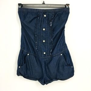 Guess Strapless Chambray Romper